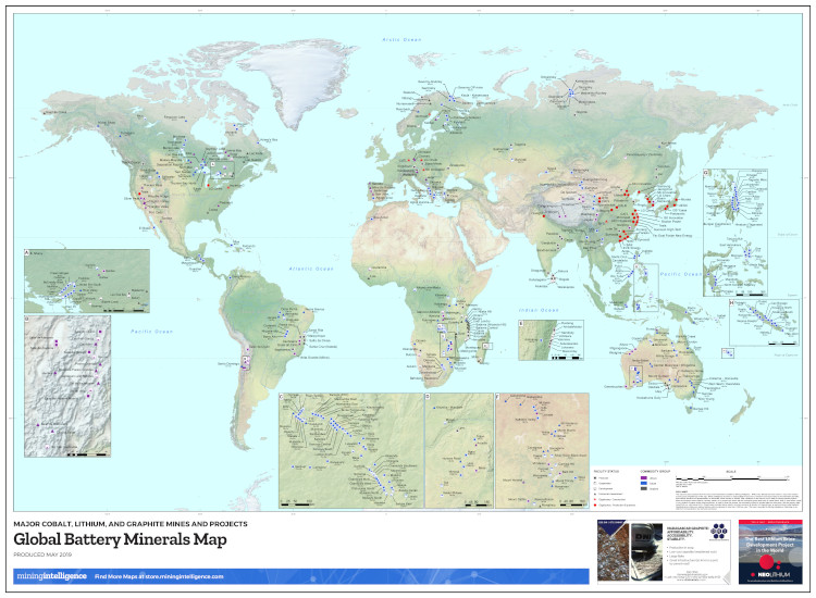 Global Battery Minerals Mining Map